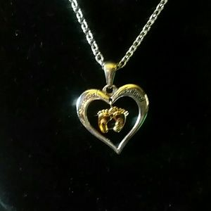 Beautiful heart & baby feet necklace
